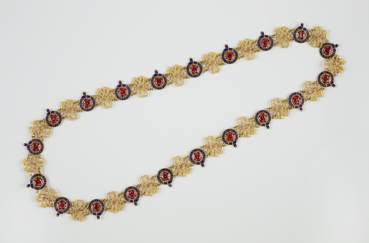 Master: Emperor Alexander II of Russia's collar and badge (Great George) of the Order of the Garter Item: Order of the Garter (England). Alexander II of Russia's collar and badge