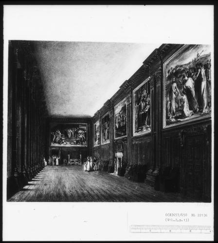 Hampton Court Palace: The Cartoon Gallery, 1818