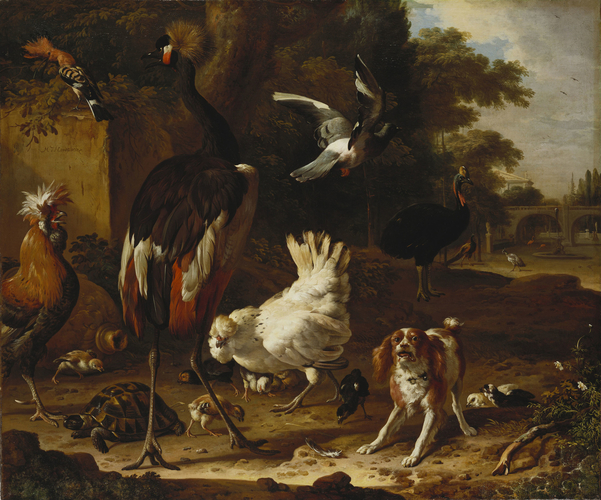Birds and a Spaniel in a Garden