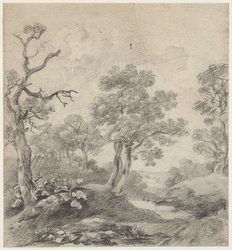 Trees beside a pond (recto); Study of a young woman, possibly Miss Lloyd of Ipswich (verso)