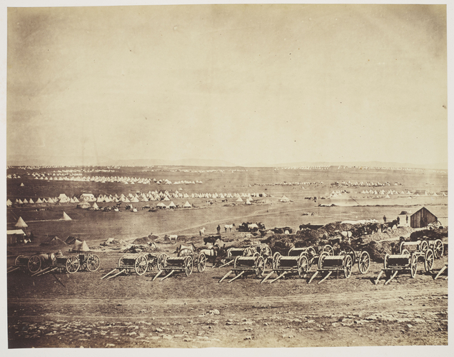 Panoramic Series: Military Camp and Gun Limbers, 1855 [in Photographic Views and Portraits of the Crimean Campaign, Box 4]