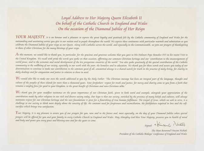 Loyal Address for the Queen's Diamond Jubilee
