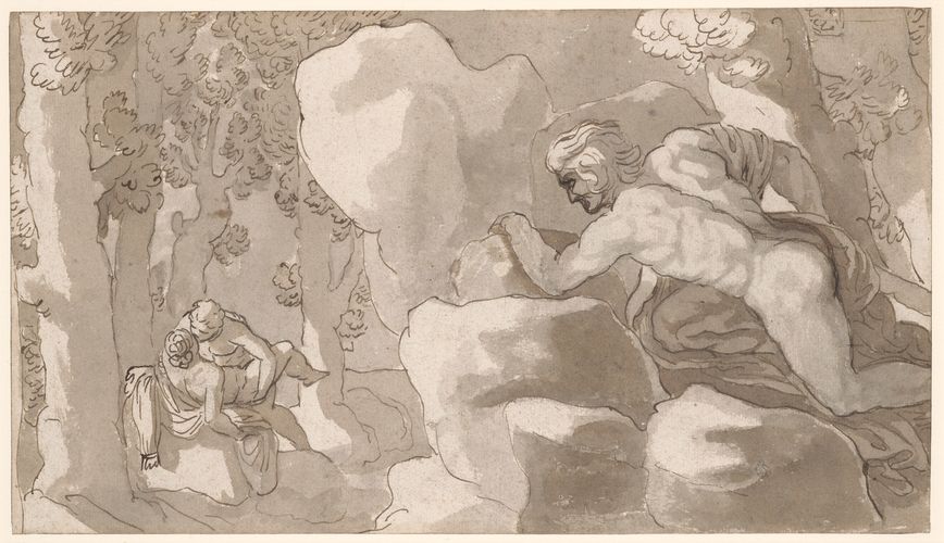 Polyphemus discovering Acis and Galatea