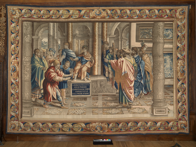 Master: The Acts of the Apostles Item: Elymas the Sorcerer struck blind before Sergius Paulus