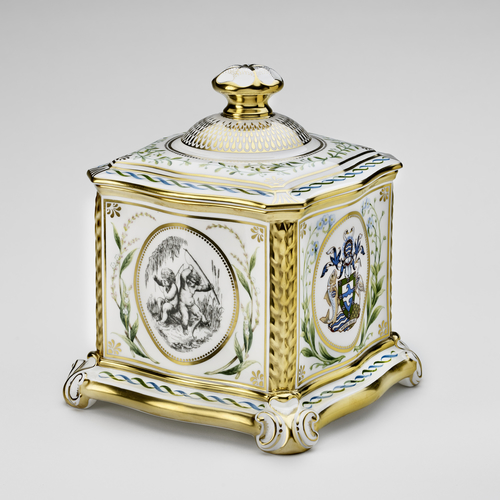 Hand-painted porcelain casket