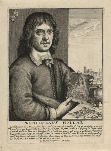 A portrait of Wenceslaus Hollar holding an etched plate