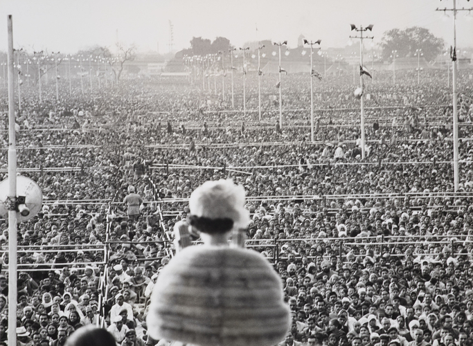The Queen addressing a crowd at Ramlila Ground, New Delhi, during her visit to India