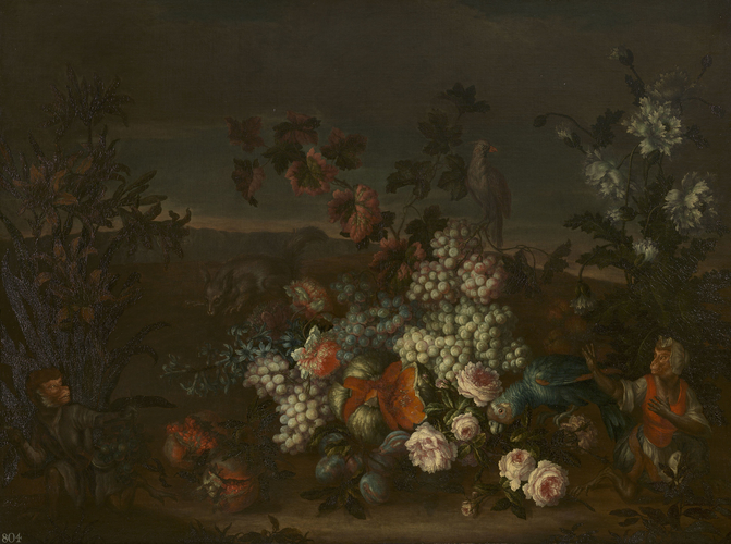 Still-Life with Fruit, Flowers, Animals and Birds in a Landscape