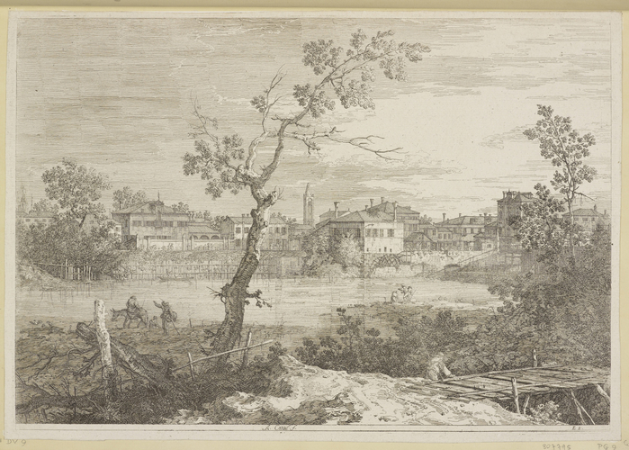 A view of a town on a river bank