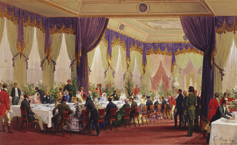 Queen Victoria and Prince Albert lunching with the Emperor and Empress of the French at the Crystal Palace, Sydenham