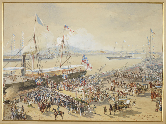 Queen Victoria and Prince Albert landing at Boulogne, 18 August 1855