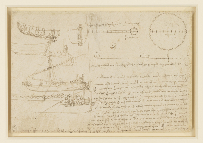 Recto: Designs for boats. Verso: A design for a paddle-boat, and the head of an old man in profile