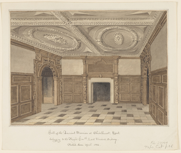 Hall of the ancient mansion at Chiselhurst, Kent, belonging to the Right Honble Lord Viscount Sidney. Pulled down April 1822