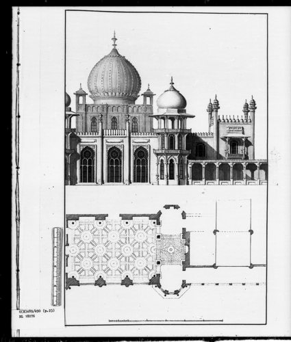 Designs for the Pavilion at Brighton: Half View of West Front