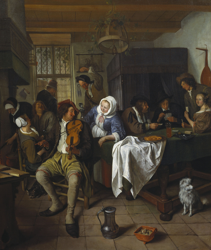 Interior of a Tavern, with Cardplayers and a Violin Player