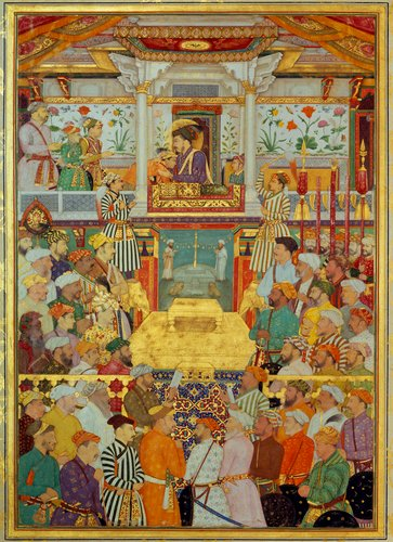Master: The Padshahnama Item: Shah-Jahan receives his three eldest sons and Asaf Khan during his accession ceremonies (8 March 1628)