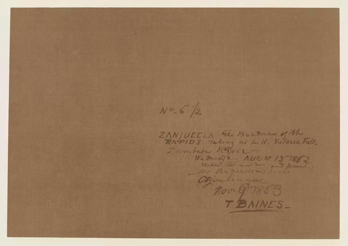 Master: Thomas Baines: his art in Rhodesia Item: Thomas Baines, his art in Rhodesia. Plate IV: The boatmen of the rapids