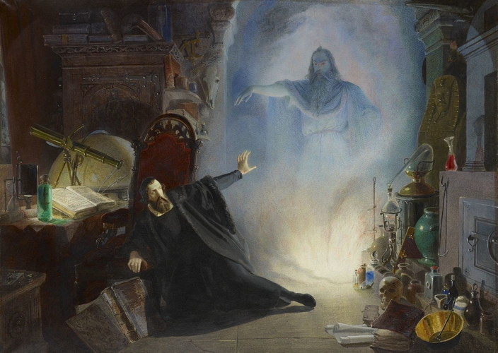 Scene from Goethe's Faust: the appearance of the Spirit of the Earth