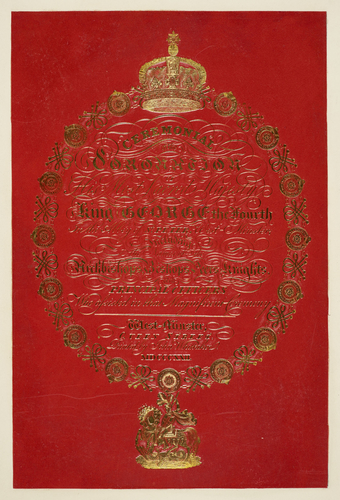 Presentation title page to the Ceremonial of the Coronation