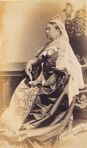Portrait photograph of Queen Victoria (1819?1901) dressed for the wedding of The Duke and Duchess of Albany, 1882
