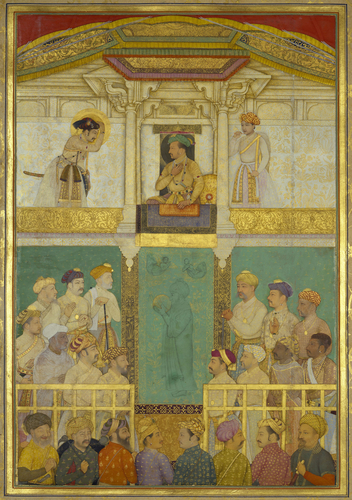 Master: The Padshahnama Item: Jahangir receives Prince Khurram (April 1616)