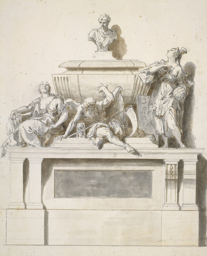 Design with a monument to Newton