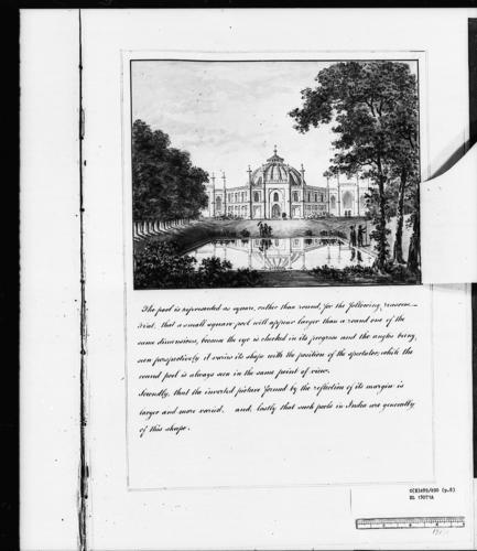 Master: Designs for the Pavilion at Brighton: views of the grounds Item: Designs for the Pavilion at Brighton: view of the stable front