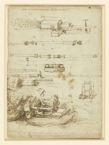 Recto: Studies of gun-barrels and mortars. Verso: A town wall being blown up