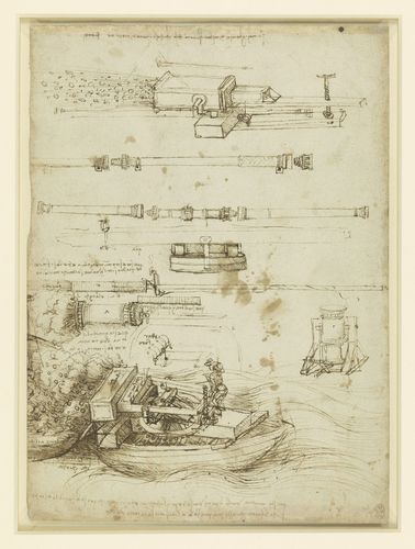 Recto: Designs for gun-barrels and mortars. Verso: A town wall being blown up