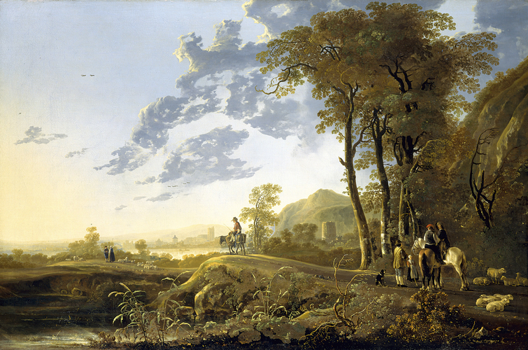 An Evening Landscape with Figures and Sheep