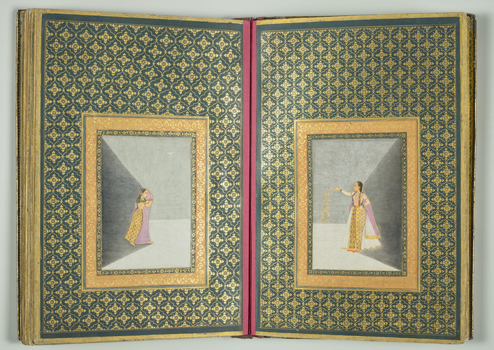 Master: Album containing specimens of Persian calligraphy and Mughal paintings. Item: Calligraphy by Mir 'Imad and Mughal painting of a princess holding a firework