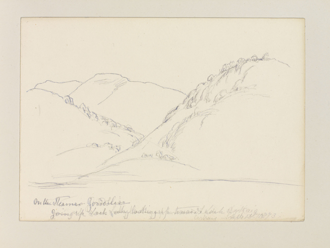 Master: SKETCHES BY QUEEN VICTORIA II Item: On the steamer Gondolier going up Loch Lochy looking up towards Loch Arkaig