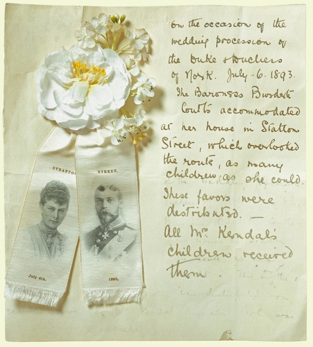 Wedding favour made to celebrate the marriage of the Duke and Duchess of York, 6 July 1893