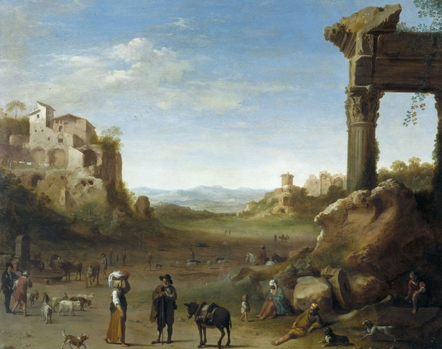 Shepherds with their Flocks in a Landscape with Roman Ruins