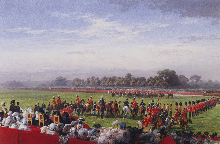 The Queen distributing the first Victoria Crosses in Hyde Park, 26th June 1857