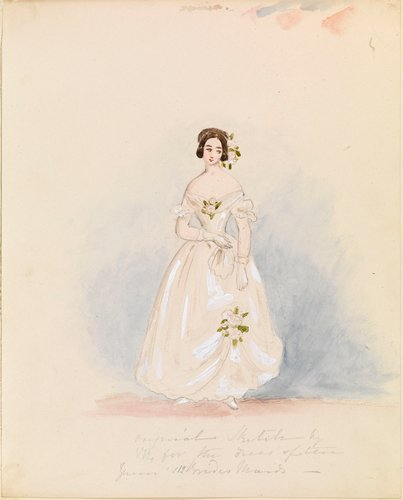 Master: THE QUEEN. RECOLLECTIONS OF THE CORONATION Item: Design for Queen Victoria's bridesmaids? dresses