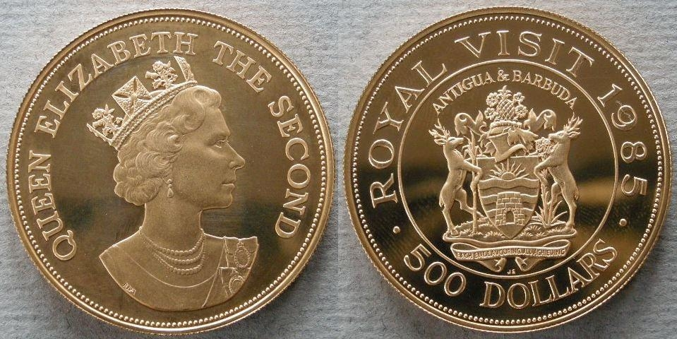 Antigua. Proof 500 dollars commemorating the Royal Visit of H. M. the Queen to Antigua