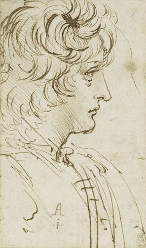 Recto: The bust of a youth in profile. Verso: Studies of machinery, showing the action of cog-wheels