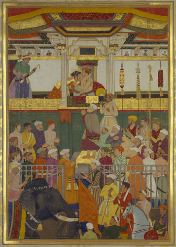 Master: The Padshahnama Item: Jahangir receives Prince Khurram on his return from the Mewar campaign (19 February 1615)
