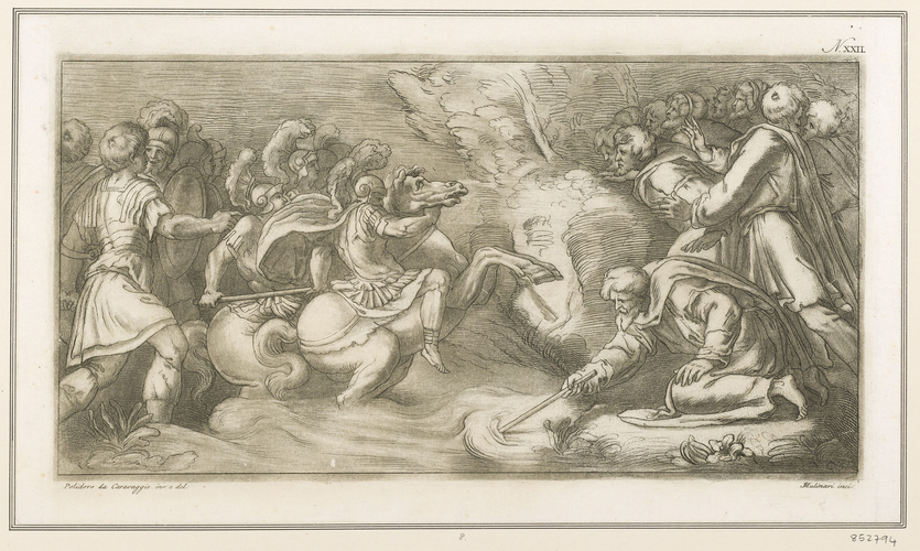 Moses closing the waters of the Red Sea on Pharaoh's army