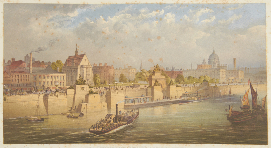 Thames Embankment. Temple Steam-Boat Pier and Landing Stairs