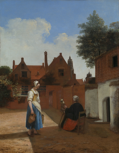 A Courtyard in Delft at Evening: a Woman spinning