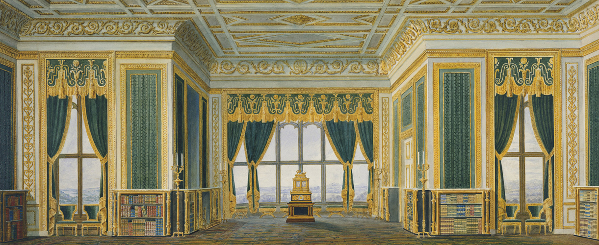 Design for the east elevation of the Library, Room 196 (the Green Drawing Room), Windsor Castle, c. 1826