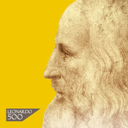 Portrait of Leonardo on a yellow background