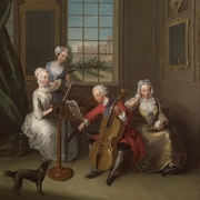 Close up from 'The Music Party' depicting Frederick, Prince of Wales with his three elder sisters