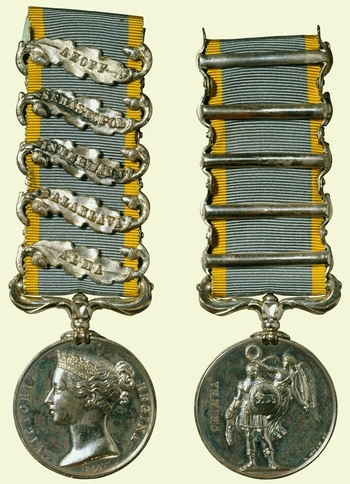 Queen Victoria's intention to issue a Crimea Medal was announced by the Duke of Newcastle (Secretary for War) to Lord Raglan (Commander-in-Chief) on 2 December 1854. It was to be conferred on all officers and men who served in the war. Each medal bo