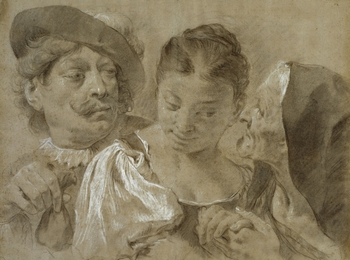 A drawing of three figures including a young woman in the centre, an old woman whispering to her on the right and a man in a plumed hat offering a bag of money on the left. Piazzetta's paintings and drawings, sombre in tone and of an insistent large