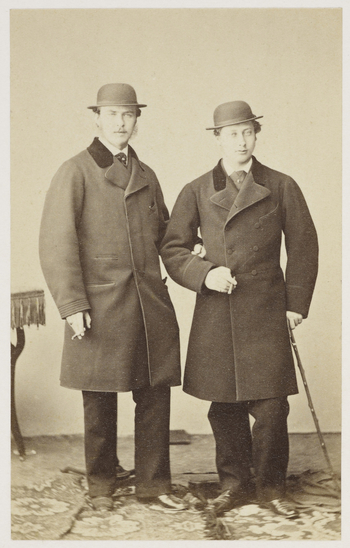 A carte-de-visite portrait of the Prince of Wales (right) with Prince Louis of Hesse (Grand Duke Ludwig IV). Prince Louis was engaged to marry the Prince's sister, Princess Alice. 