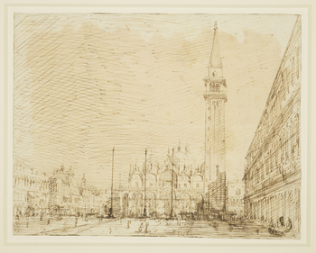 A drawing of a view in Piazza San Marco, Venice. In the centre is San Marco, and it its right the Campanile. On the far right is part of the Palazzo Ducale, and the Procuratie Nuove. On the left is the Torre dell'Orologio and Procuratie Vecchie.   The v