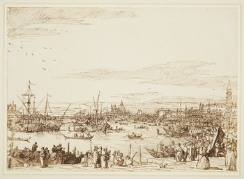 A drawing of the Bacino in Venice. In the centre is the Dogana and the church of Santa Maria della Salute. To the left is the Giudecca canal. On the Giudecca is the church of the Redentore, and at the far left, part of the church of San Giorgio Maggiore.
